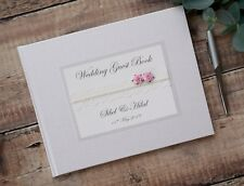 Cream, White or Ivory Personalised Wedding Guest Book.Vintage Style Lace & Rose.