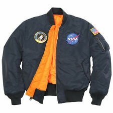 ALPHA INDUSTRIES NASA MA-1 FLIGHT JACKET REPLICA BLUE S,M,L,XL,2X,3X,4X,5X NYLON