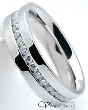 Men Stainless Steel 6mm Wedding Band Eternity CZ Ring Sizes 7.5 to 12.5