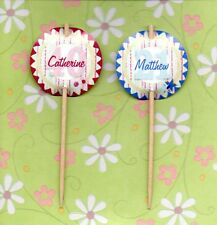12 LUXURY PERSONALISED BIRTHDAY ROSETTE CUP CAKE FLAG 18th 21st 31th 40th 50th