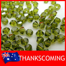 Olivine (228) Genuine SWAROVSKI 5328 Crystal Beads Bicone 4mm * 50 / 100 / 200 *