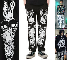 New Skull Flame Totem Graphic Print Cotton Sweat Pants Kpop Mens Gothic Rock