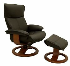 New Fjords Senator Leather Recliner with Ottoman by Hjellegjerde - Lounge Chair