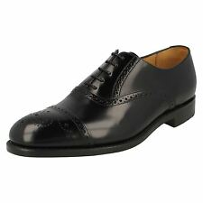 MENS LOAKE OBAN LACE UP BLACK LEATHER UPPER SEMI-BROGUE SHOES FITTING F