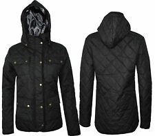 New Womens Ladies Hooded Long Sleeve Quilted Padded Jacket Coat S M L XL XXL