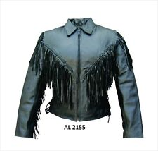 Black Leather Biker Jacket w Braided Trim & Fringe, Zip-Out Liner, Ladies Womens