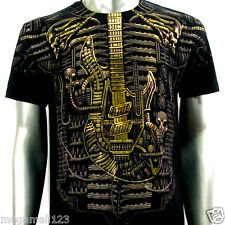 Artful Couture T-Shirt Sz M L XL XXL Tattoo Rock Skull Music Electric Guitar AB2