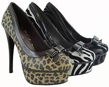 Women Sexy High Heels Zebra Leopard Design Platform Shoes Fashion 6 Inch High