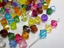 200 Transparent Faceted Acrylic Bicone Beads 8mm Spacer Finding Pick your color