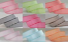 5yds~~16mm Stripe Printed White Grosgrain Ribbon 9 Colours U PICK