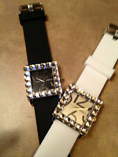 "Geneva Ladie's Large 2"" DIAMETER  SQARE FACE RHINESTONE BEZZELED WATCH NEW~WOW"