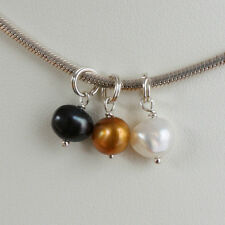 Solid Sterling 925 Silver Freshwater Pearl Charm Pendant - ADD CHARM TO BRACELET