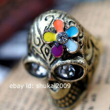 COOL ! RETRO Bronze Multicolor Flower Skull Rings & Necklace N063