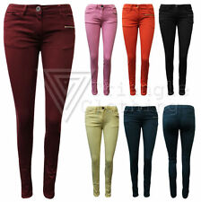 Womens Slim Fit Jeans Bright Coloured Jeggings Trousers Denim Light Summer Zip