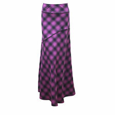 WOMEN FULL LENGTH CHECK PURPLE BLACK LONG FULL LENGTH MAXI SKIRT UK 10 - 22 NEW