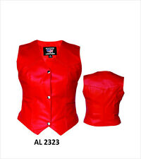 Ladies Red Leather Vest Classic 3-Snap Biker Motorcycle Style Womens