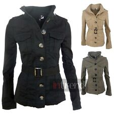LADIES MILITARY STYLE ARMY JACKET WOMENS UTILITY COAT BLACK KHAKI BEIGE UK 6-14