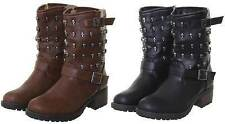 WOMENS LADIES SKULL STUDDED MILITARY COMBAT BIKER BUCKLE WINTER ANKLE BOOTS