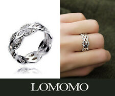 925 Silver Plated Swarovski Crystals Hollow lace Band Ring R368