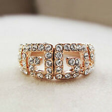 New 18K Rose Gold Plated RGP Pattern Band Ring with Swarovski Crystals R385