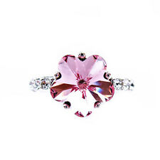 925 Silver Plated Swarovski Pink Crystal Plum Flower Cocktail Ring R413