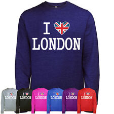 ULTIMATE I LOVE LONDON MENS UNION JACK HEART PRINTED SWEATSHIRT JUMPER