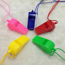 PLASTIC REFEREE SPORTS FOOTBALL RUGBY WHISTLE 4 COLOURS NECK WRIST CORD LANYARD