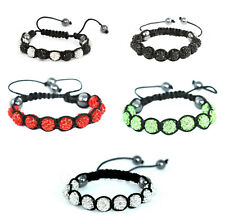 Shamballa Bracelet Multi-Color Crystal Hematite Disco Ball Adjustable Macrame