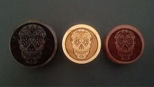"""Handmade """"Skull Candy - Day of the Dead"""" Organic Wood Plugs 7/16"""" - 30mm - NEW"""