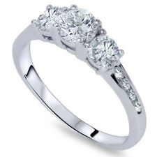 1.00CT Three Stone 3 Diamond Ring 14K White Gold
