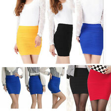 Bandage High/Low Waist Stretch Lady Mini Skirt Slim Bodycon Panel Candy Colored