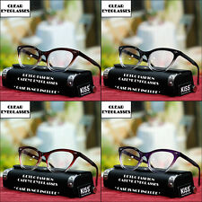 VINTAGE FASHION CATEYE EYEGLASSES TRANSPARENT FRAME WOMENS NEW CLEAR LENS THICK