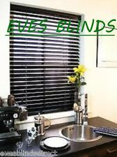 PREMIUM MADE TO MEASURE BLACK Wooden Venetian Window Blinds 35mm SLATTED BLINDS