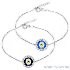 Evil Eye Turkish Nazar Greek Mati Hamsa Kabbalah Charm Sterling Silver Bracelet