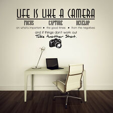 Life is like a camera Vinyl Wall Lettering Quotes Sayings Decor Art Decals J174