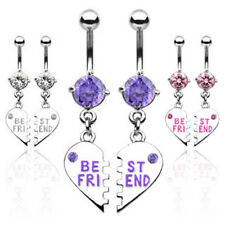 Pair of Best Friend Charm Pendent CZ Navel Belly Ring