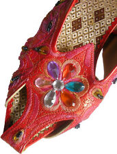 Indian design, Ladies Leather Sandal with embroidery & beads in Red (4 sizes)