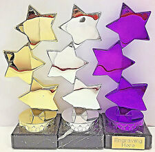 Dance Star Trophy Purple/Silver/Gold + FREE Engraving
