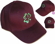 Lucky Green St. Patrick's Day Shamrock Clover Twill Baseball Hat Cap Embroidered