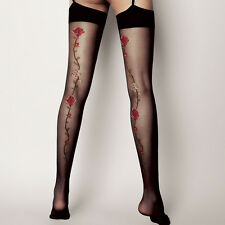 "Black Sheer Floral Stockings ""Calze Madlene"" 20 Denier"