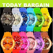 WOMENS MENS UNISEX SILICONE JELLY BEAN STYLE WRIST WATCH 13 COLOURS