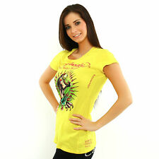 Ed Hardy by Christian Audigier Women Tunic Panther and roses lime short sleeve