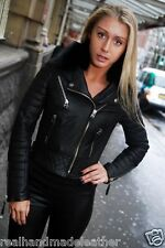 GENUINE Hand Crafted LEATHER Quilted Biker Jacket Oil Black FOX FUR COLLAR