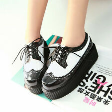 Womens Flat Double Platform Vintage Brogues Creepers Goth Punk Oxford Shoes Boot