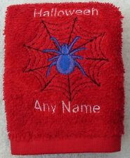 Personalised Halloween Goth Spider Bat Face Cloth Flannel Any Name 100% Cotton