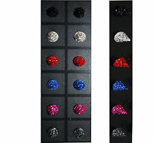 Sparkle & Glitter Cone Shape Stud Earrings Black Silver Red Pink Grey or Blue