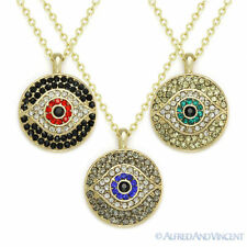 Evil Eye Greek Turkish Nazar Hamsa Kabbalah Judaica Circle Pendant CZ Necklace