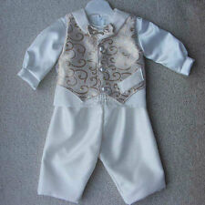 Baby Boys Special Occasion Gold Ivory 4 Piece Christening Outfit 0-6 6-12m M96a