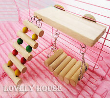 Flexible Wooden Toys Rat Mouse Hamster Parrot Hanging Ladder Bridge Shelf Cage