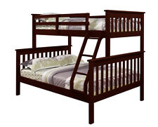 Twin over Full Bunk Bed - Cappuccino Finish Bunkbed - FREE Shipping